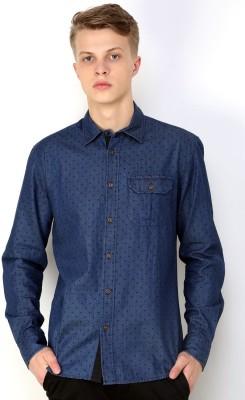 CHRISTIAN FABRE Men's Printed Casual Blue Shirt