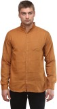 Sleek Line Men's Solid Casual Gold Shirt