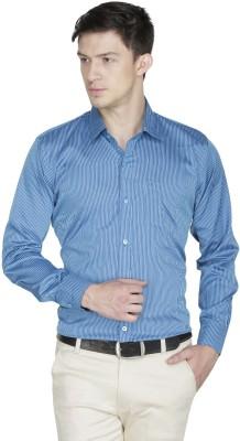 Asher Men's Striped Formal Blue Shirt