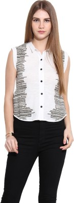 Why Knot Women's Printed Casual White Shirt