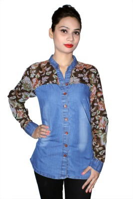 Cherry Clothing Women's Printed Casual Brown Shirt