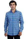 Protonze Men's Checkered Casual Blue Shi...