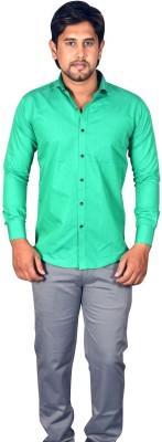 Koridor Men's Solid Formal Green Shirt