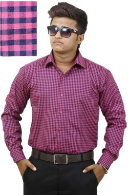 Siera Men's Striped Formal Red, Dark Blue, Pink Shirt