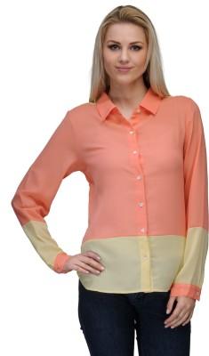 Curvy Q Women's Solid Casual Orange, Yellow Shirt