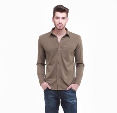 Jogur Men's Solid Casual Green Shirt