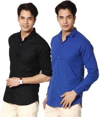 Alian Men's Solid Casual Black, Blue Shirt
