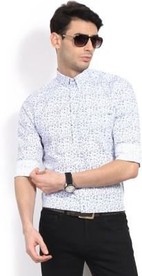 GAS Men,s Printed Casual White, Blue Shirt