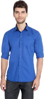 Flyjohn Men's Solid Casual Blue Shirt