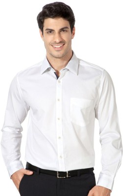 Jaabili Men's Solid Formal White Shirt