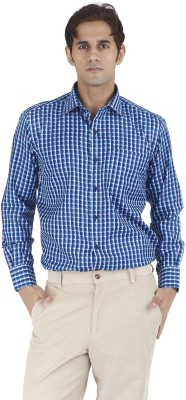 Silkina Men's Checkered Formal Blue, Multicolor Shirt