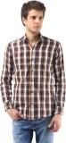 Orizzonti Men's Checkered Casual Brown S...