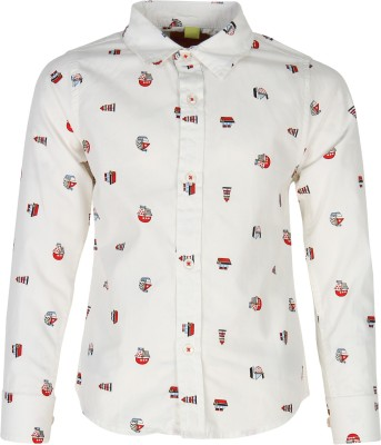 Silver Streak Boy's Printed Casual White Shirt
