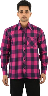 Five On Five Men's Striped Casual Pink Shirt