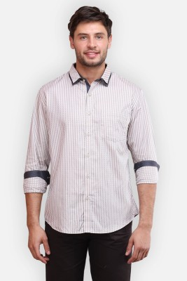four one oh Men's Checkered Formal Brown Shirt