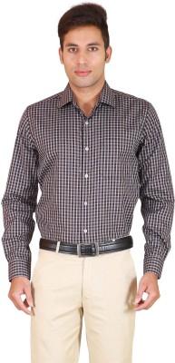 Willmohr Men's Checkered Formal Brown Shirt