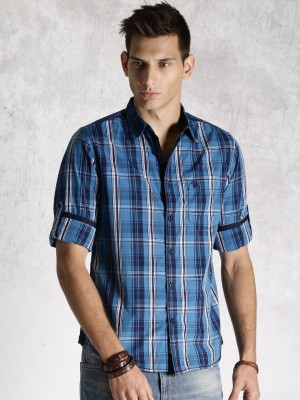 Roadster Men's Checkered Casual Blue Shirt