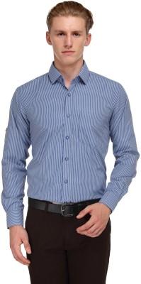 V2k Fashion Men's Striped Formal Dark Blue Shirt