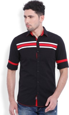 Vintage Men's Solid Casual Black Shirt