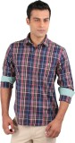 J Hampstead Men's Checkered Casual Blue ...