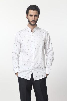 Yell Men's Printed Formal, Casual, Festive Black, White Shirt