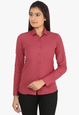 Fashion Cult Women's Solid Casual Maroon Shirt