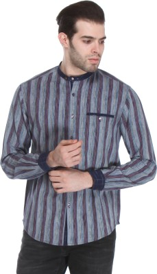 Reevolution Men's Striped Casual Blue Shirt