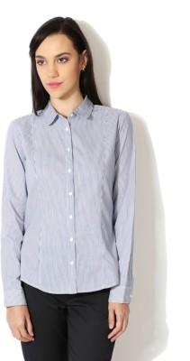 Van Heusen Women's Striped Casual White Shirt