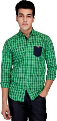 Jhon Poul Men's Checkered Casual Green Shirt