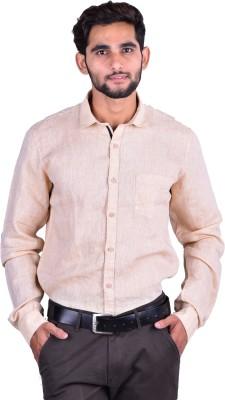 Cortos Men's Self Design Formal Linen Beige Shirt