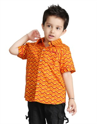 Little pocket store Boy's Printed Casual Orange Shirt