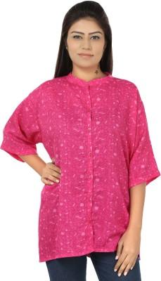 Chic Fashion Women's Printed Formal Pink Shirt
