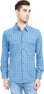 Riot Jeans Men's Checkered Casual Light Blue Shirt