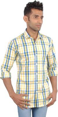 maclavaro Men's Checkered Casual, Party Yellow Shirt