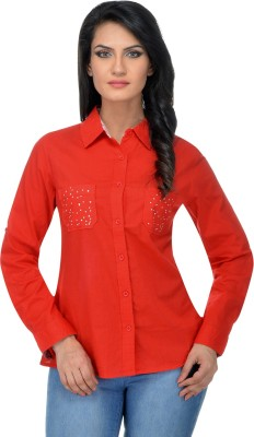 Urban Republic Women's Solid Casual Red Shirt