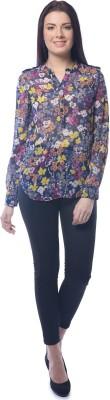 Chloe Women's Floral Print Casual Dark Blue, Yellow Shirt