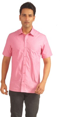 Sterling Men's Checkered Formal Pink Shirt