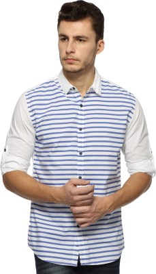 Nature Men's Solid Casual Blue, White Shirt