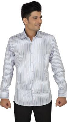 Kash & Ash Men's Striped Formal White, Blue Shirt