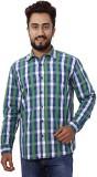 Gustrow Men's Checkered Casual Green Shi...