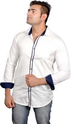 Lomhara Men's Solid Formal White Shirt