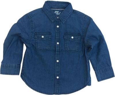 Kuddle Kid Baby Boy's Solid Party Denim Blue Shirt