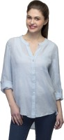Femme Women's Clothing - One Femme Women's Solid Casual Blue Shirt
