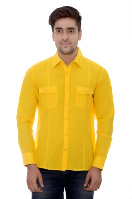 Parv Collections Men's Solid Casual Yellow Shirt