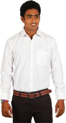 Green Apple Men's Solid Formal White Shirt
