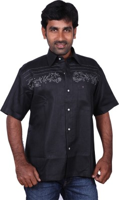 Karlsburg Men's Embroidered Casual Black, Silver Shirt