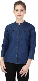 YASMIN CREATIONS Girls Solid Formal Denim Dark Blue Shirt