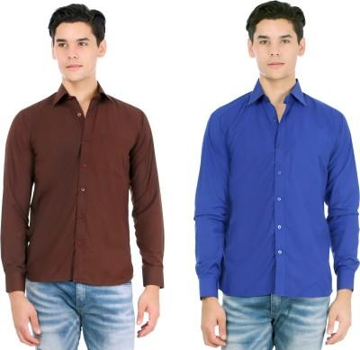 Atmosphere Men's Solid Casual Brown, Dark Blue Shirt
