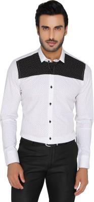 Mode De Base Italie Men's Polka Print Casual White Shirt