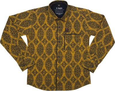 G-Apple Boy's Printed Casual Yellow Shirt